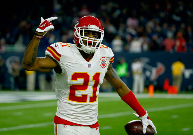 Sean Smith (21) of the Kansas City Chiefs celebrates his interception against the Houston Texans in the fourth quarter during the AFC Wild Card Playoff game at NRG Stadium on Jan. 9, 2016, in Houston, Texas. The Kansas City Chiefs won 30-0 over the Houston Texans. (Scott Halleran/Getty Images)